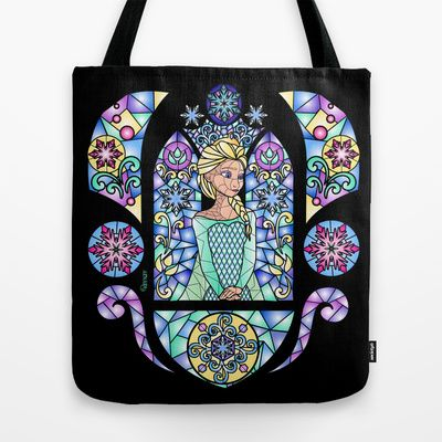 """""""Stained glass in the Arendelle Castle"""" #bag on sale on society6.com. If you like it and you would like to buy one go on """"You can also buy my designs in """"designbyhumans.com/shop/VanyNany/"""" What unmissable chance to wear a unique design t-shirt ! So follow me!______#Elsa #Frozen #Disney #Anna #snow #gothic #snowflakes #Arendelle #olaf #princess #queen"""