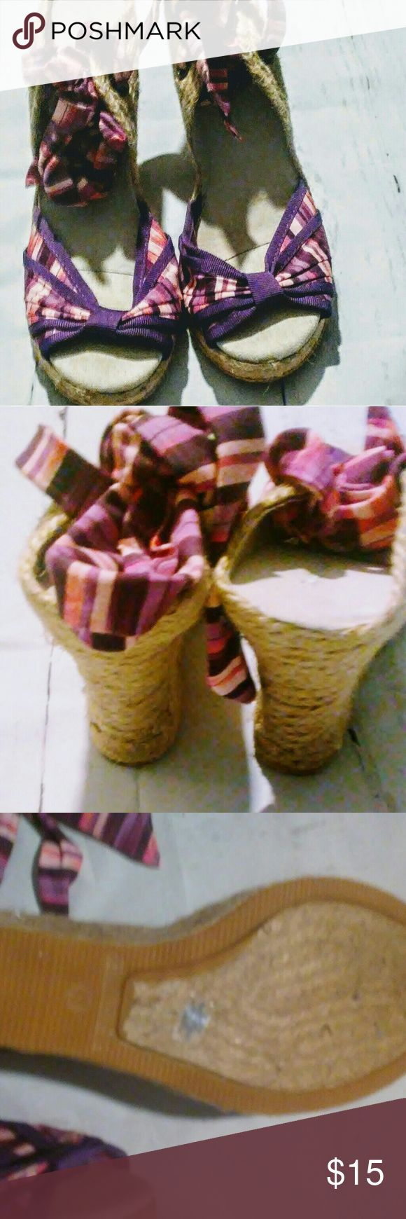 Old Navy Espadrilles Pink and Purple 11M New Without Tags Old Navy Women's Edpadrilles fabric Pink and Purple size 11M Wedges that wrap around ankle Old Navy Shoes Espadrilles