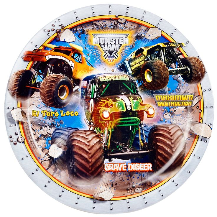 Monster truck party plates