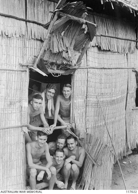 Singapore Straits Settlements, 19 September 1945: members of 2/18th Australian Infantry Battalion, prisoners of war of the Japanese, in Chan...