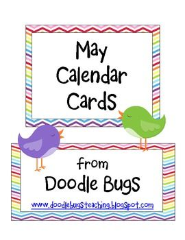 Enjoy this set of fun May Calendar Cards. Can also be used as counting cards for the little ones! xoxo,KaceyDoodle Bugs Teaching...