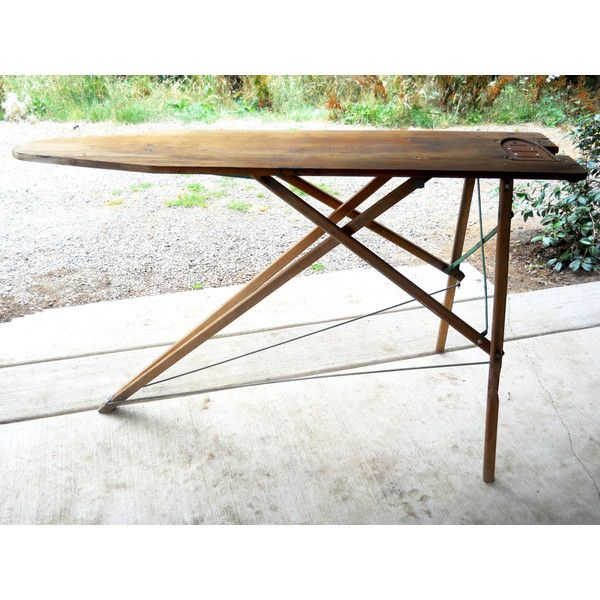 Antique Wooden Ironing Board Rare Iron Sole Plate Victorian Primitive... ($188) ❤ liked on Polyvore featuring home and home decor
