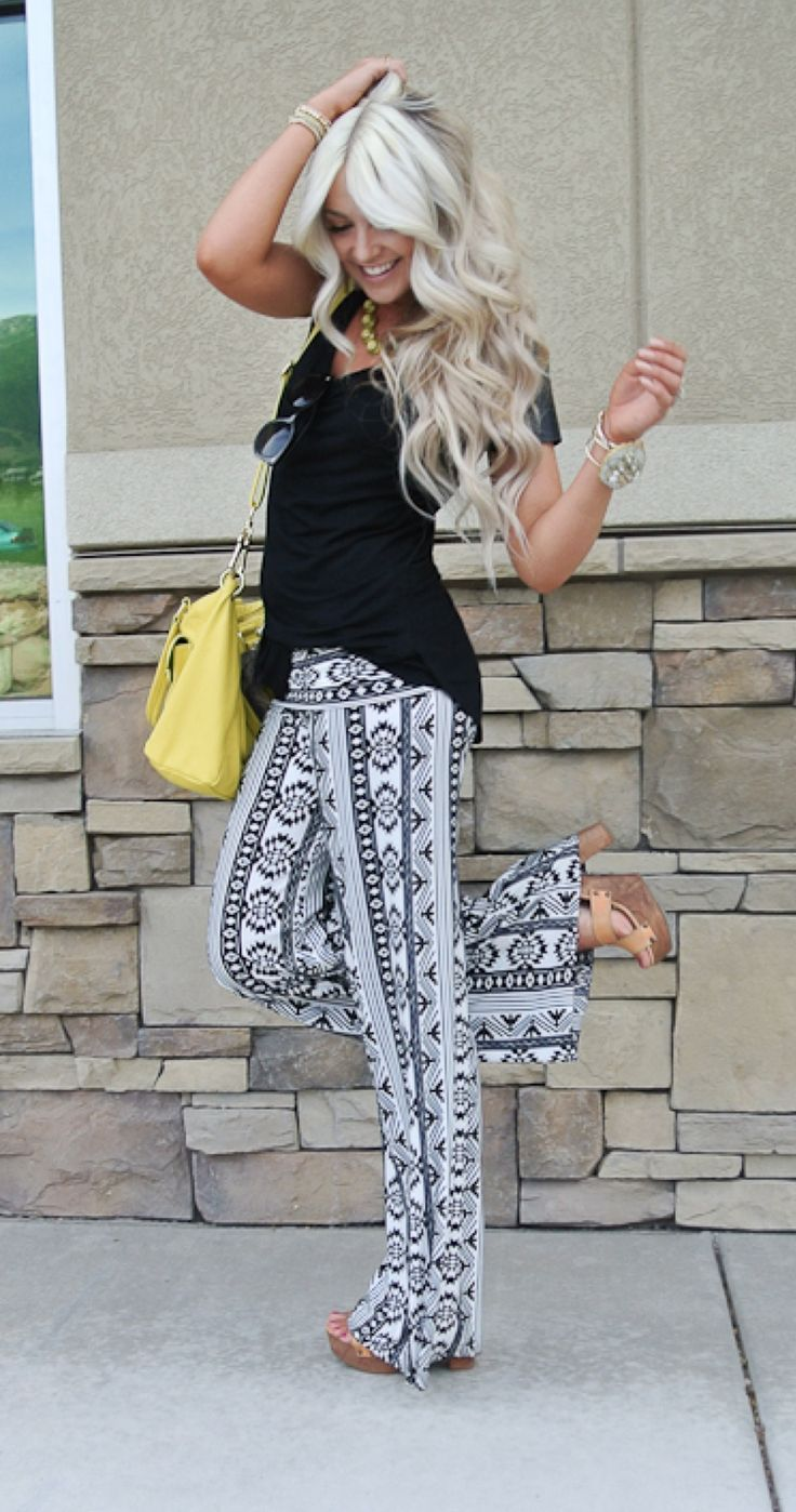 Black and white tribal print palazzo pants.  Get a similar pair on Amazon.