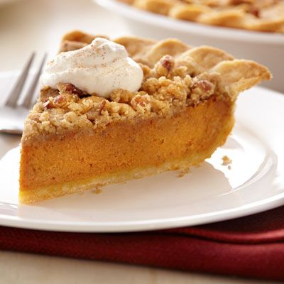 Streusel Pumpkin Pie Streusel 1/2 cup all-purpose flour 1/4 cup firmly packed brown sugar 1/4 cup Land O Lakes® Butter, softened 1/2 teaspoon pumpkin pie spice* 1/4 cup chopped pecans Filling 2 Land O Lakes® All-Natural Eggs 1 cup firmly packed brown sugar 1/2 cup Land O Lakes® Heavy Whipping Cream 1 (15-ounce) can pumpkin 1 teaspoon pumpkin pie spice** 1/2 teaspoon salt
