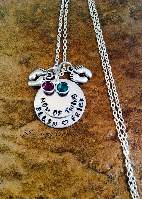 Personalized Mom Of Twins Necklace Mother by JillsArtsyCreations, $26.00