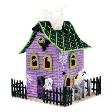 Mary Maxim - Spook House Tissue Box Cover Plastic Canvas Kit - Plastic Canvas Kits - Plastic Canvas - Crafts
