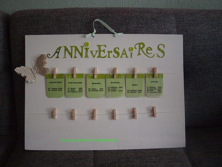 Faire de jolies lettres ( j'ai utilisé des plaques de lettres détachables ), accrocher 2 ficelles, y pendre des pinces à linge ( mini, bien sûr ), et faire de jolies étiquettes ( MOIS - DATE- PRéNOM- ANNéE de NAISSANCE )