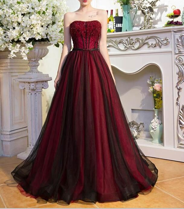Dark Red And Black Tulle Beaded Long Party Dress Prom Dress 2018 Formal Dress Formal Gowns Burgundy Evening Dress Burgundy Prom Dress Cheap Prom Dresses Long