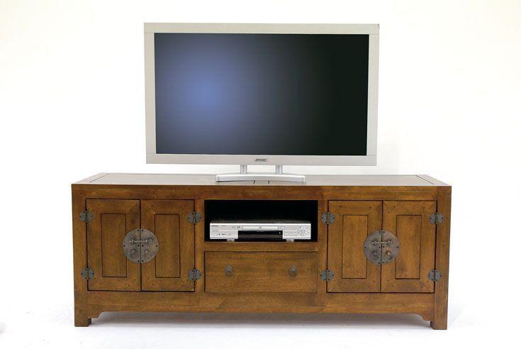 Meuble Tv Chinois Asiatique 4 Portes 1 Tiroir Hevea 160cm Maori Meuble Tv Mobilier De Salon Meuble