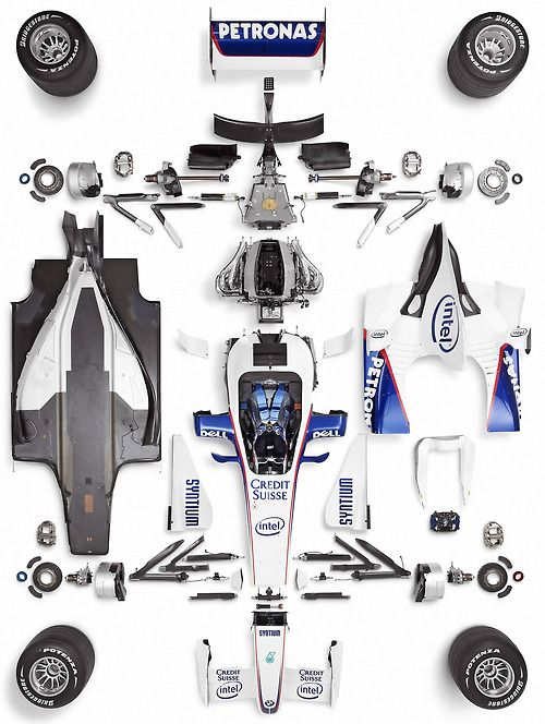 all the stuff for a formule 1 car