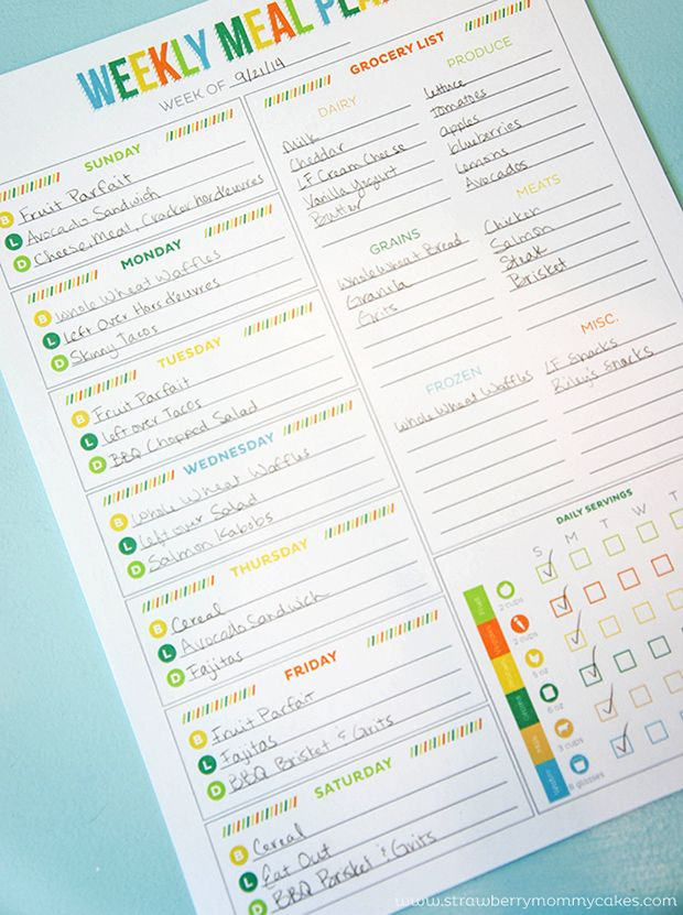 6 Printable Meal Planning Templates to Simplify Your Life. This one, from Strawberry Mommycakes, will help you plan a well-rounded diet.