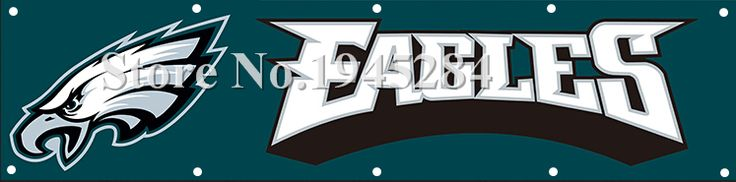 NFL Philadelphia Eagles Banner with Brass Grommets Size 2x8ft  60x240cm New Polyester Flag Banner, free shipping