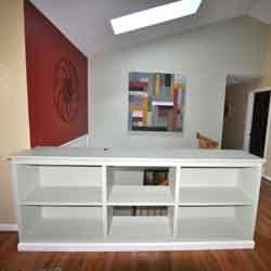Built book shelf room divider half wall homey pinterest - Half wall bookcase room divider ...