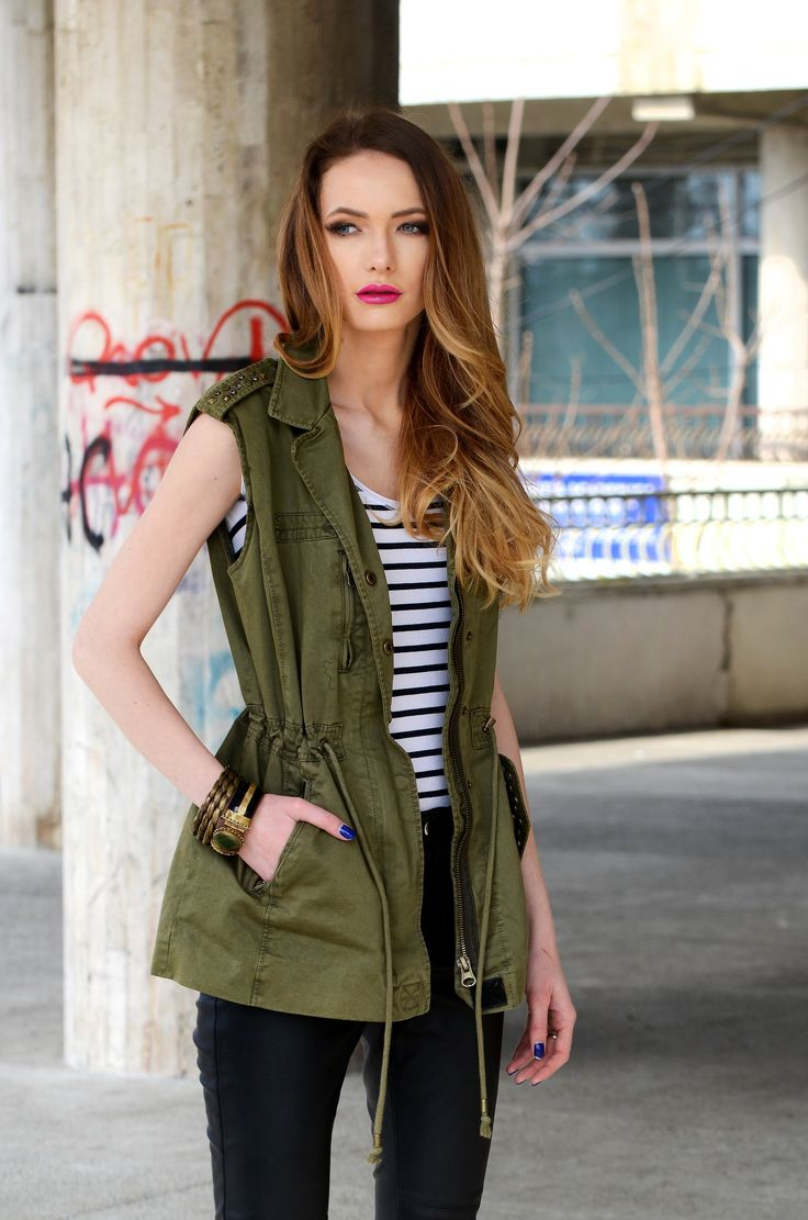 Army vest & leather pants is the best decision I ever made! Come here and check it out: http://dianatoma.ro/a/portfolio/leather-army/ #army #leatherpants #bikerpants #streetstyle #outfit