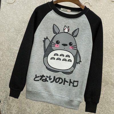 [Totoro] Cute Japanese Words Printed Sweater HF00271