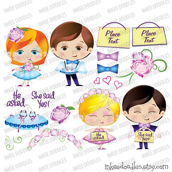 Page Boy Flower Girl Ring Bearer Cute Wedding Party Pink Blue Cartoon Illustration He Asked She Said Yes Design Elements Clip Art Set 30063 by InkeeDoodles, $6.00 for set of 20 pieces of different designs, png and jpeg file formats, #PageBoy #FlowerGirl #RingBearer #Cute #WeddingParty #Pink #Blue #Cartoon #Illustration #HeAskedSheSaidYes #DesignElements #ClipArt #Set