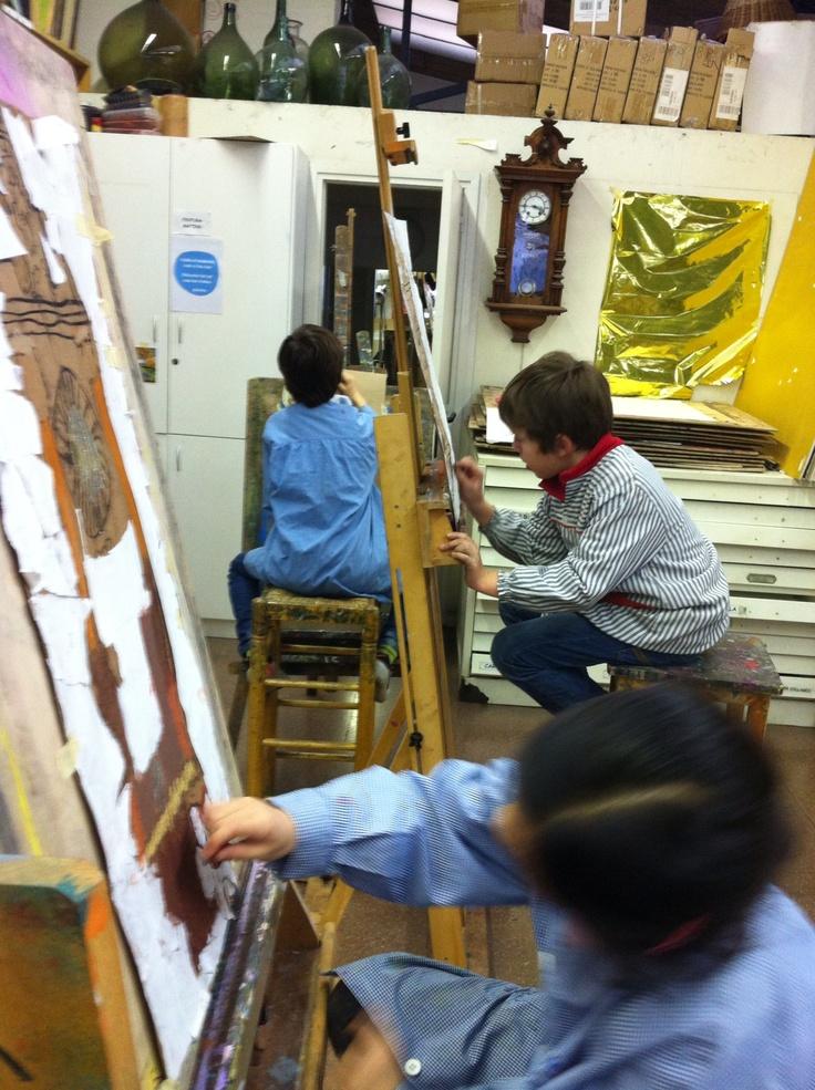 """""""El rellotge"""", pastel i collage  sobre cartó curs 2012/13 www.escolatrac.com"""