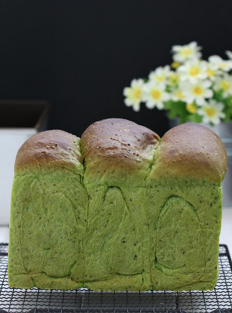 Chia-green tea milk bread
