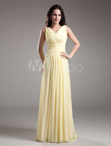 Robe demoiselle d'honneur A-ligne jonquille en chiffon détail col V - Milanoo.com <3