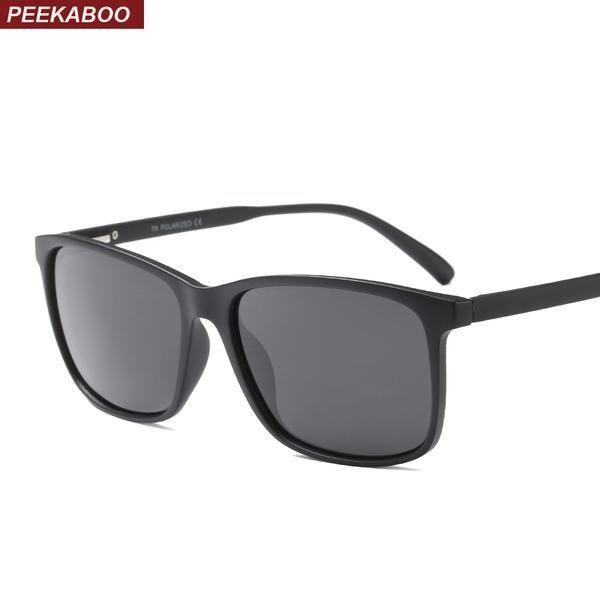 #DealOfTheDay #FASHION #NEW Peekaboo black rectangle sunglasses men polarized uv400 with box TR90 square sun glasses for men polarized…