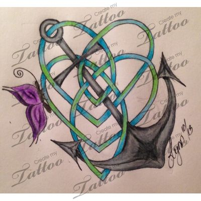 Celtic motherhood knot, anchor and butterfly
