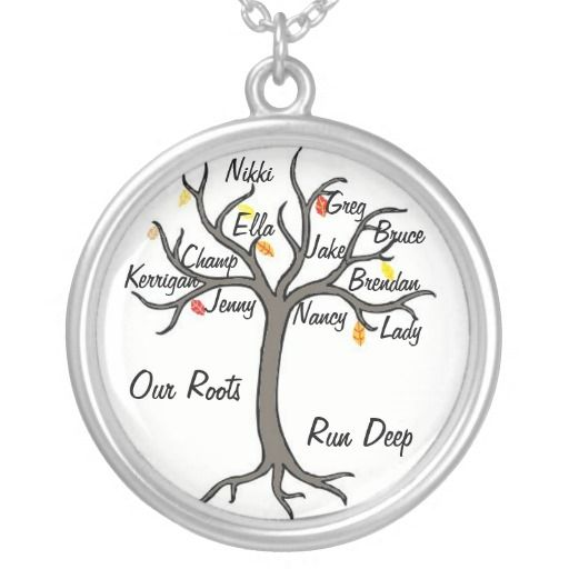 Family Tree Necklace Custom Up To 10 Members