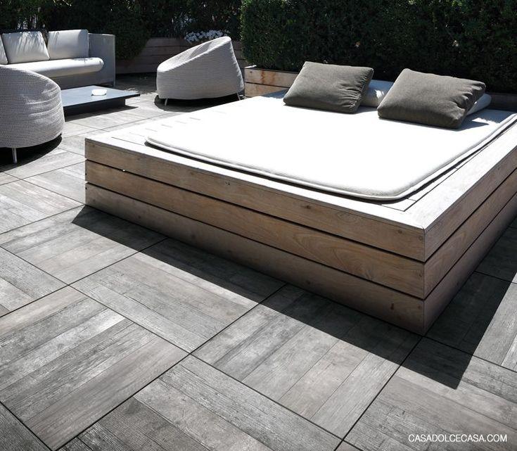 terrastegels, lijkt hout is een keramische tegel