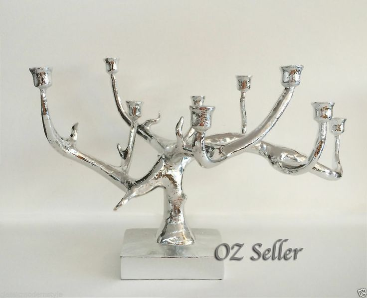 Modern Eclectic Style Design Silver Candle Holder (a perfect centerpiece)