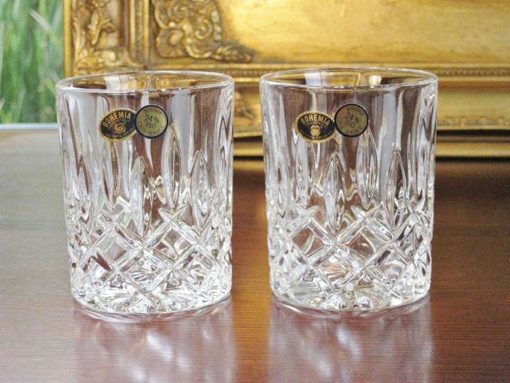 Pair of BOHEMIA crystal large water / Whiskey tumblers. Heavy based. NEW