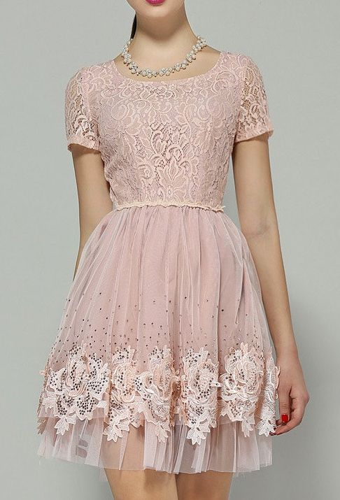 Pink lace party dress.