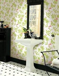 .: Reno Ideas, Decor Bathroom, Half Bath, Red Wallpapers, Hexagons Floors, Green Botanical, Bathroom Ideas, Black Trim, Botanical Wallpapers