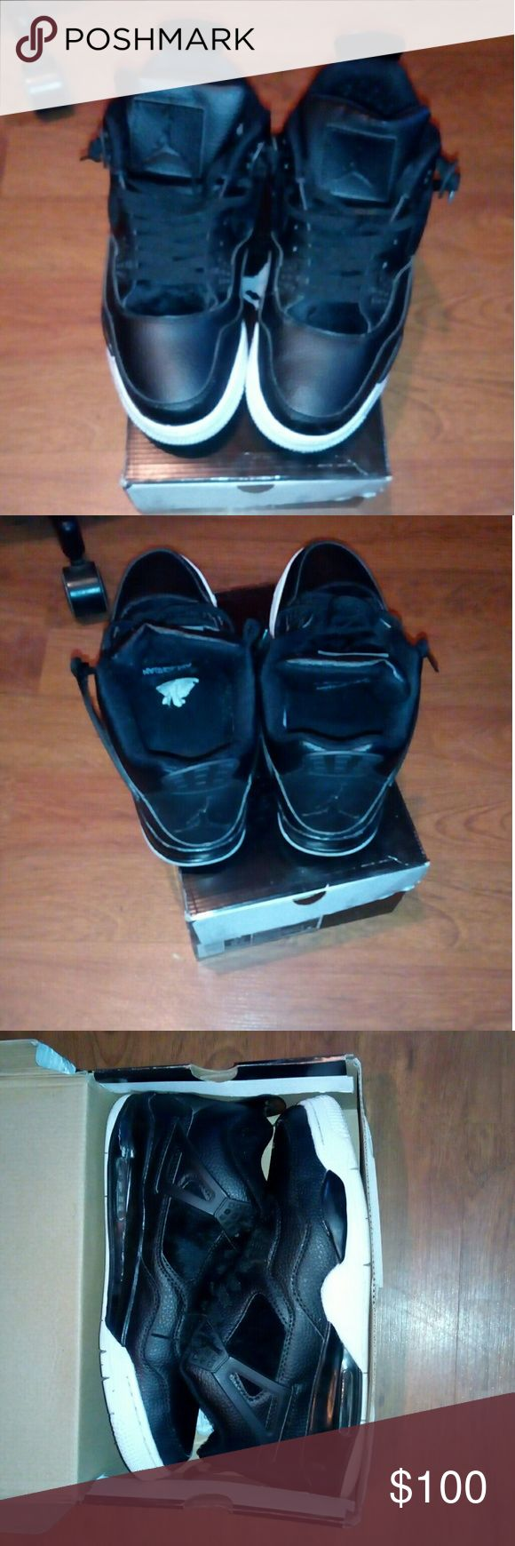 Black/white air Jordan 4 only $100 obo Nice pair of air Jordan 4 size 13 men they are black and white in color comes with box wore them 3x no crease at all selling for $100 obo Air Jordan Shoes Athletic Shoes