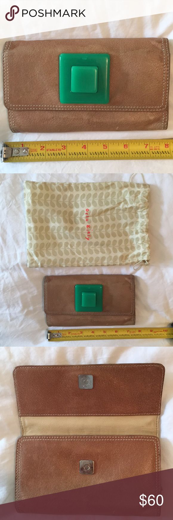 Orla Kiely Leather Wallet Orla Kiely Leather wallet with green accent So cool Used & loved but still has a lot of life Matching handbag also for sale Orla Kiely Bags Wallets