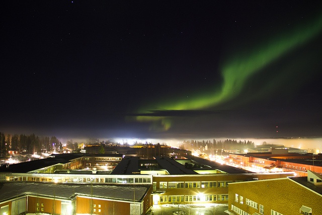 Northern Lights over Luleå University of Technology, Sweden.