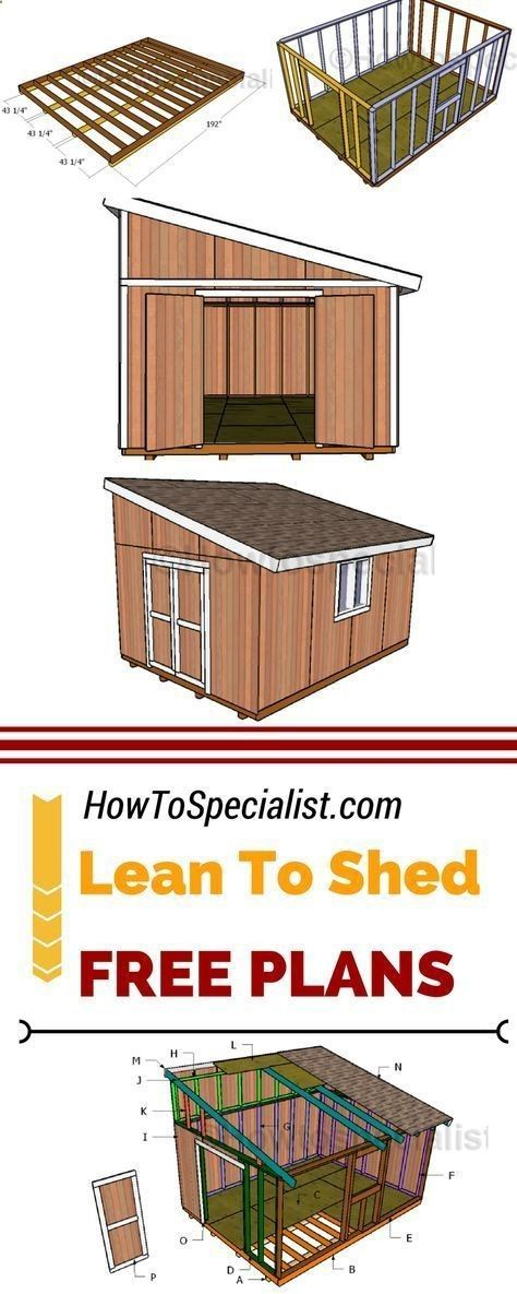 Shed Plans - Check out how to build a 12x16 lean to shed for your backyard. My free 12x16 storage shed plans are easy to follow and comes with step by step instructions. See them at: myoutdoorplans.com #diy - Now You Can Build ANY Shed In A Weekend Even If You've Zero Woodworking Experience! #buildsheddiy
