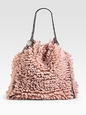 Stella McCartney Rose Wool Shag effect Falabella Chain Strap Handbag Bag BNWT