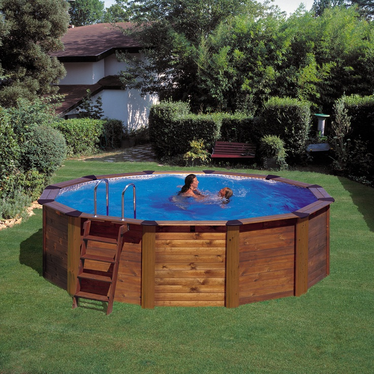Piscina gre de madera circular nature pool serie hawaii for Piscinas desmontables