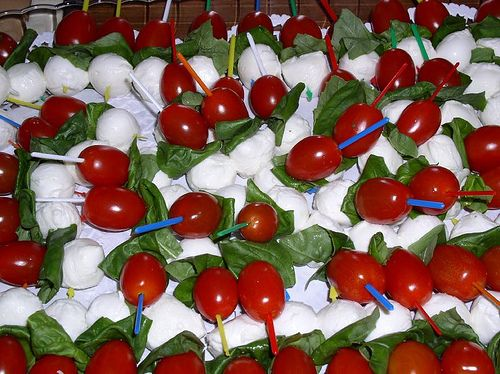 Love these tomato, basil, and mozzarella hors d'oeuvres.