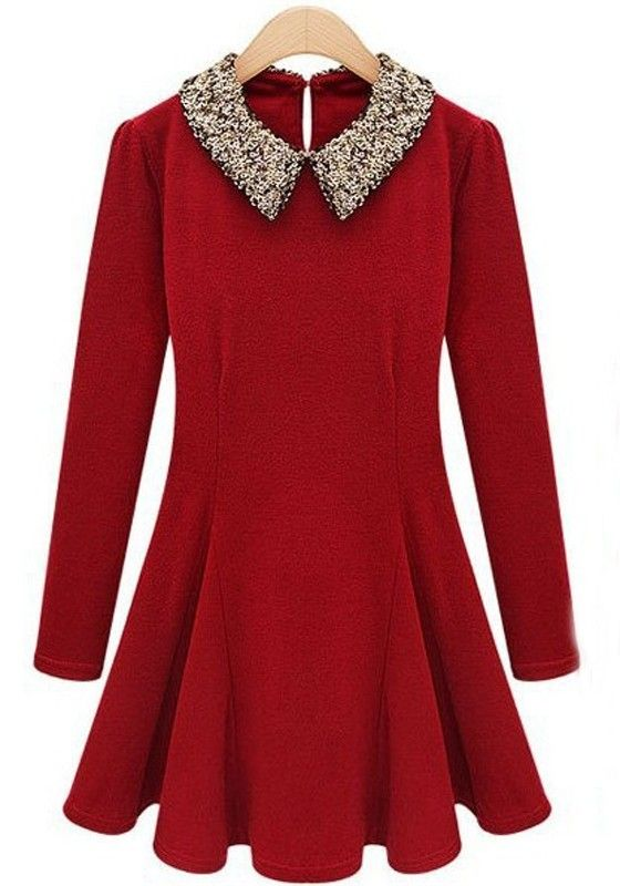 Red Sequin Peter Pan Collar Wrap Cashmere Dress. Perfect Christmas dress with black tights