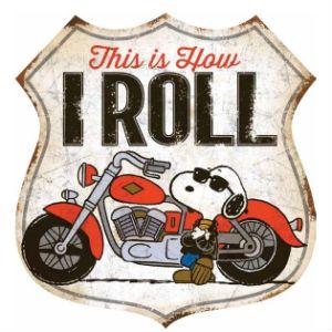 This Tin Sign featurs the alter-ego of Snoopy known as Joe Cool⎜Open Road Brands #motorcycle #thisishowiroll #peanuts