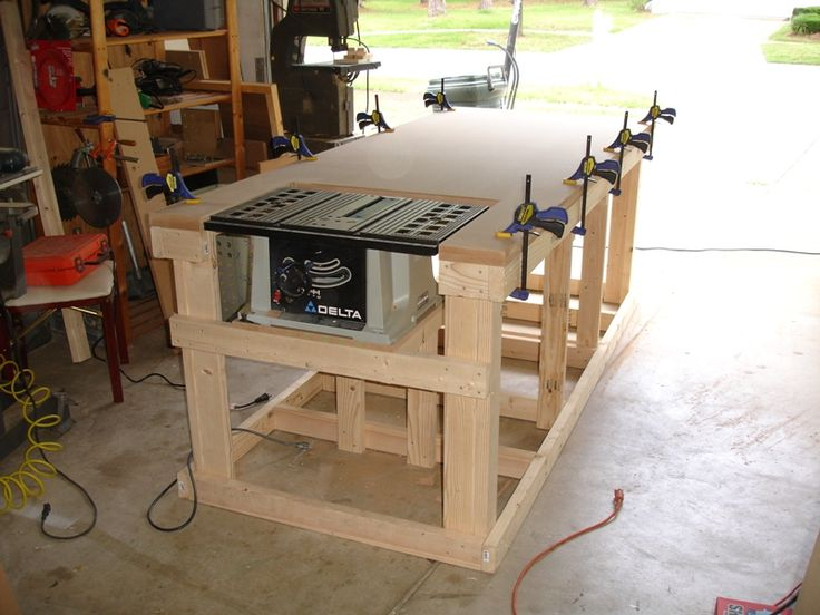 Backyard workshop ultimate workbench building for Working table design ideas