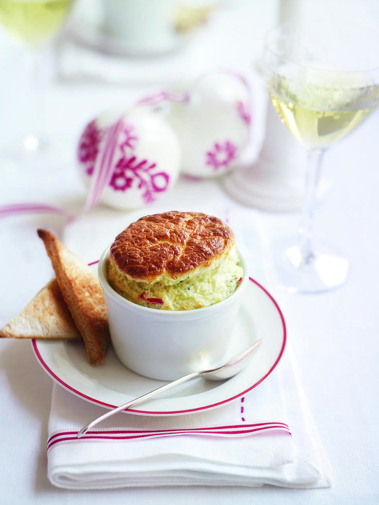 This crab and cheese soufflé recipe is a light, savoury way to start an indulgent meal for a special occasion.