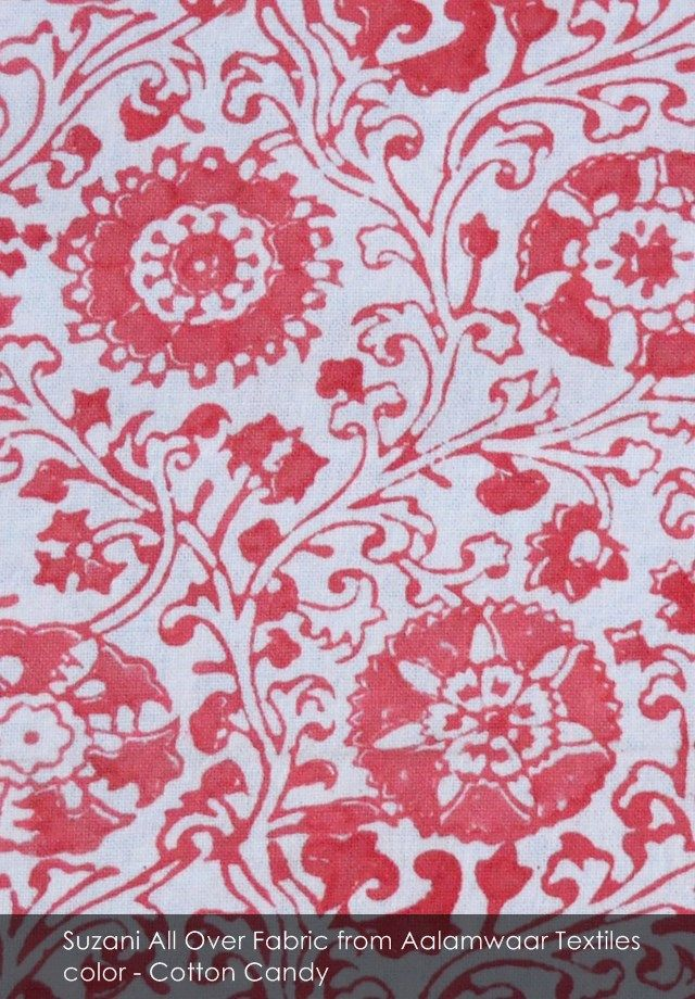 Suzani All Over fabric from Aalamwaar Textiles in Cotton Candy