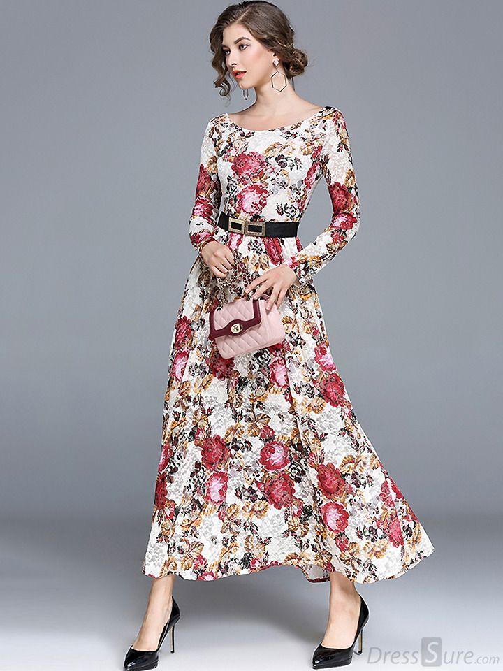 18e756760a Elegant Slash Neck Long Sleeve Floral Print Belted A-Line Dress -  DressSure.com