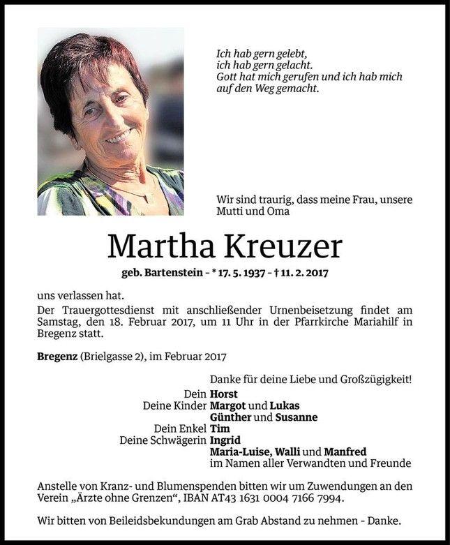 Todesanzeige für Martha Kreuzer vom 15.02.2017 - VN Todesanzeigen