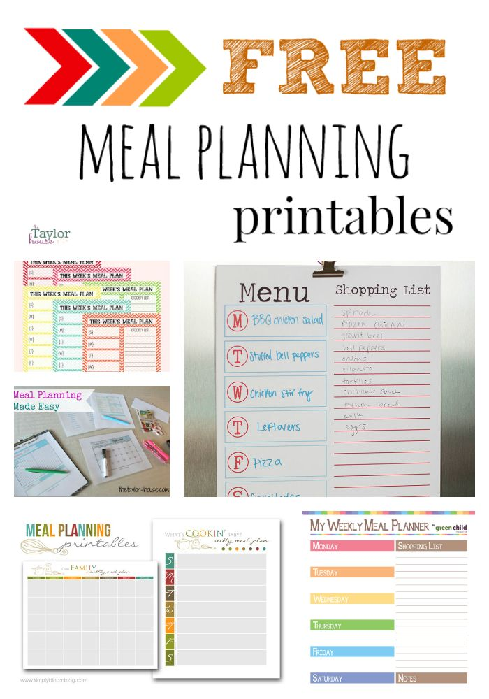 Free Meal Planning Printables- this needs to happen. I must get organized!