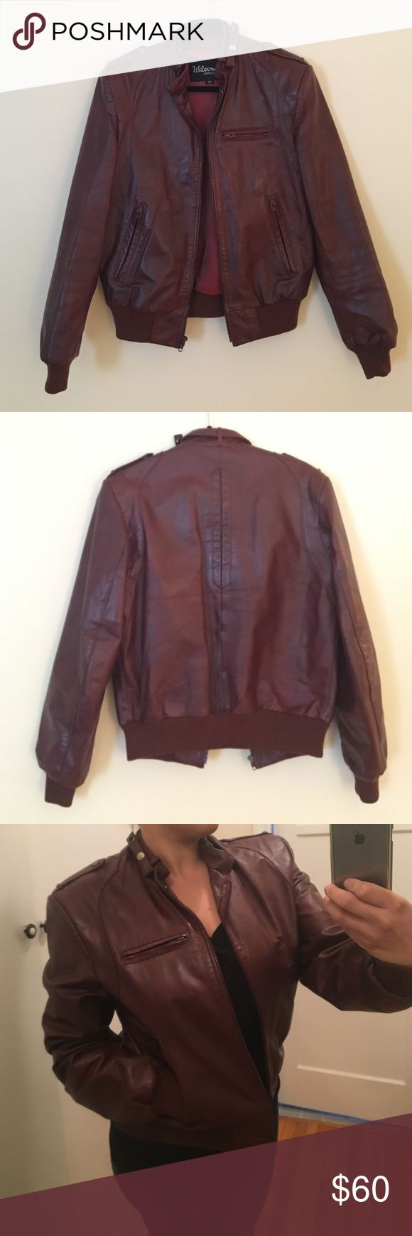WILSONS SUEDE & LEATHER, Wine Red Leather Jacket Fits like a large but it has a size 40 tag and I believe this is MENS. I purchase from a consignment store a while back. Wilsons Leather Jackets & Coats