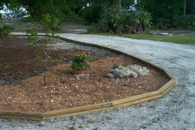 Landscape Timbers Driveway Edging : Best images about backyard planning on florida flowers picket fences and decks