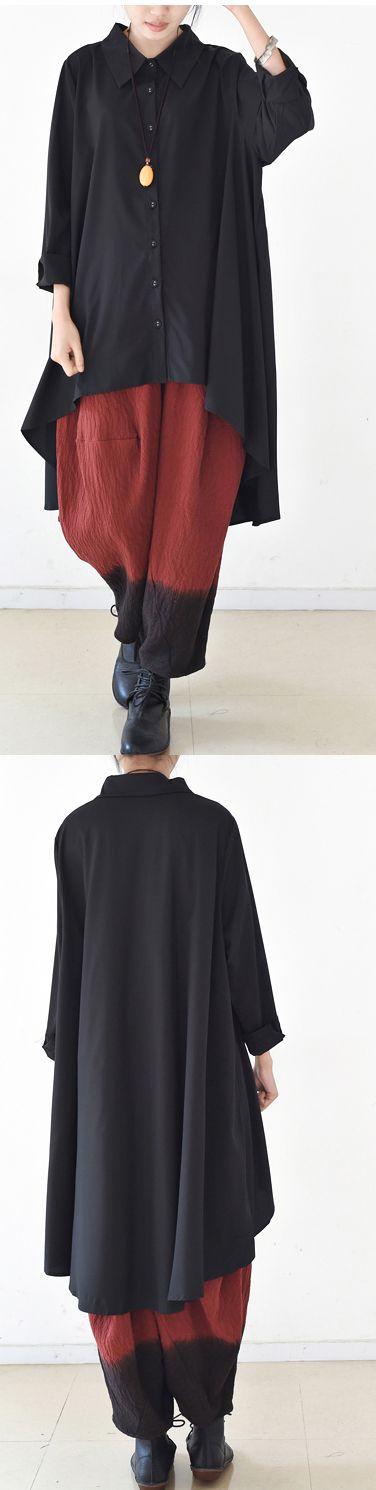 2017-autumn-thin-black-cotton-shirts-asymmetrical-design-low-high-blouses-oversized-cotton-tops