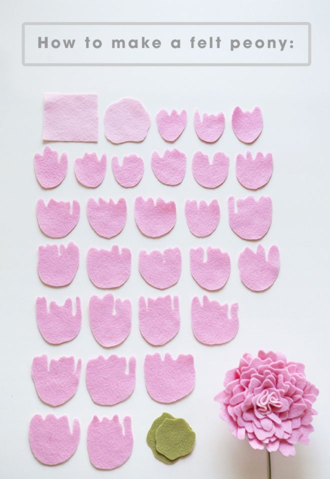 Tuto-All the petals you'll need to make a felt peony!